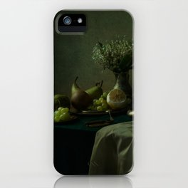 Still life with metal dishes, fruits and fresh flowers iPhone Case