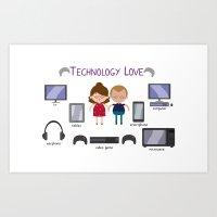 technology Art Prints featuring Technology Love by Juliana Motzko