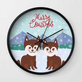 Merry Christmas New Year's card design Kawaii funny brown husky dog Wall Clock