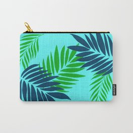 Palm Leaves on Blue Carry-All Pouch