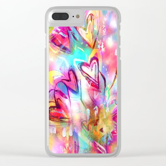 Bursting Hearts Clear iPhone Case