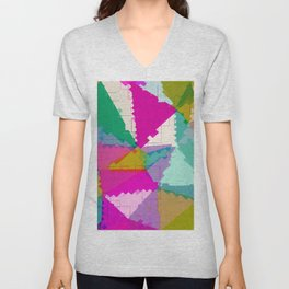 geometric square pixel and triangle pattern abstract in pink green blue Unisex V-Neck