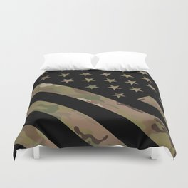 U.S. Flag: Military Camouflage Duvet Cover