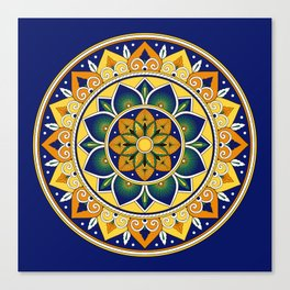 Italian Tile Pattern – Peacock motifs majolica from Deruta Canvas Print