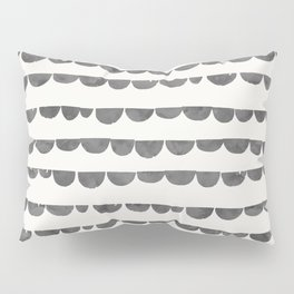 Original modern gray white watercolor scalloped  Pillow Sham