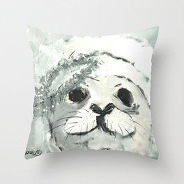 White Seal Throw Pillow