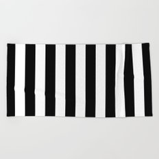 Black & White Stripes (vertical)  Beach Towel