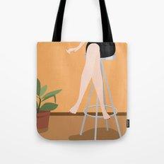 Girl on Stool Tote Bag