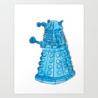 dalek Art Prints featuring Dalek by Margret Stewart