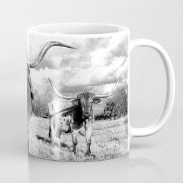 Longhorn Cattle Black and White Highland Cows  Coffee Mug