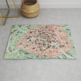 Vintage map of Paris Rug
