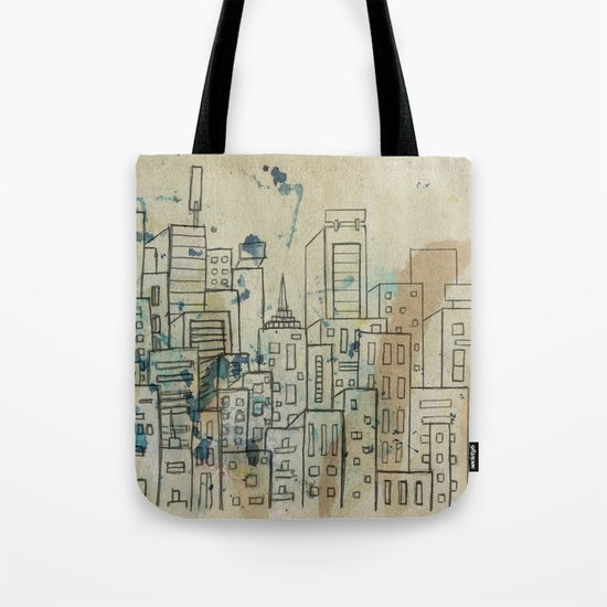 Sketch of buildings in a city that doesn't exist Tote Bag