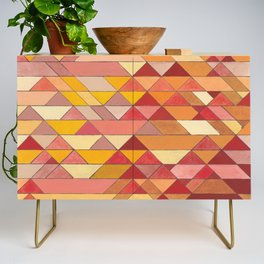 Triangle Pattern no.4 Warm Colors Red and Yellow Credenza