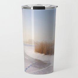 Dutch windmills in a foggy winter landscape in the morning Travel Mug