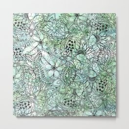 Spring Turquoise green floral hand drawn illustration pattern grey watercolor Metal Print