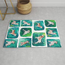 Dogs on Spring and Emerald Green Painting Rug