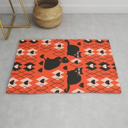 Cats and hearts with diamonds Rug