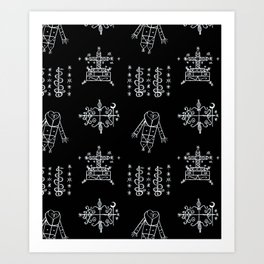 Papa Legba + Baron Samedi + Gran Bwa + Damballah-Wedo Voodoo Veve Symbols in Black Art Print
