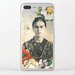 Frida loves flowers Clear iPhone Case