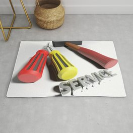 Hammer and screwdriver for Service - 3D rendering Rug