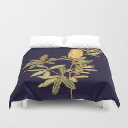 Banksia on Indigo Blue Botanical Illustration Duvet Cover