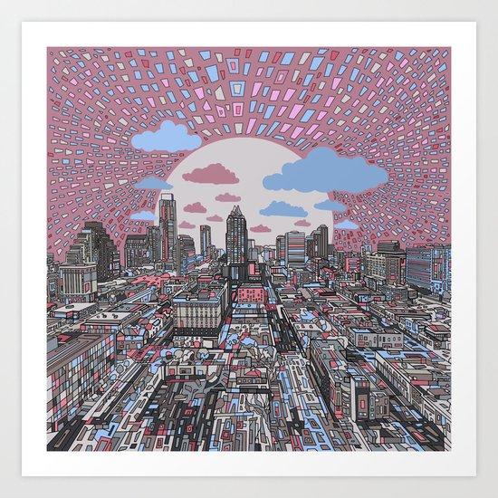 austin texas city skyline Art Print