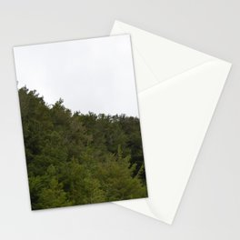 Pine trees atop mountain. Stationery Cards