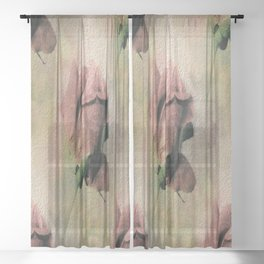 Painterly Pink Rose Bud Sheer Curtain