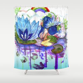 The blue lily water Shower Curtain