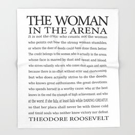 Daring Greatly, Woman in the Arena - The Man in the Arena Quote by Theodore Roosevelt Throw Blanket