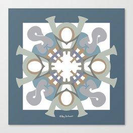 Home Sweet Home Mandala - Blue Gray Canvas Print