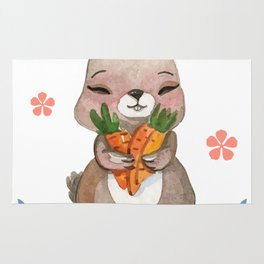 Colorful Bunny Easter Men Womens Kids Gift Rug