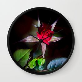 Red Rosebud Emerges Wall Clock