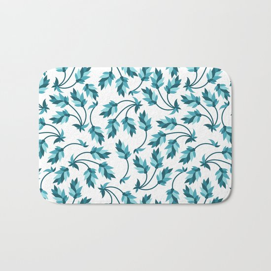 Blue branches pattern Bath Mat