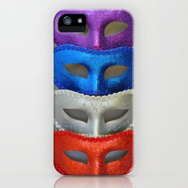 Colorful glitter masks iPhone Case