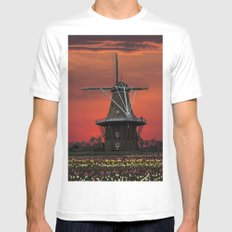 The deZwaan Dutch Windmill at Sunset Mens Fitted Tee MEDIUM White