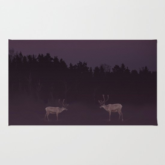 Full Moon - Winter Night With Reindeer At Edge Of Forest #decor #buyart #society6 Rug