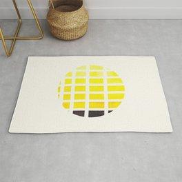 Watercolor Colorful Yellow Minimalist Mid Century Modern Square Matrix Geometric Pattern Round Circl Rug