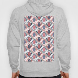 Abstract Feathers in 3D Geometric Cubes in Faded Navy Blue Red Gray Beige Hoody