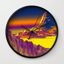 Mountain landscape colorful illustration painting Wall Clock