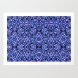 Wool Arabesque Bohemian Pattern Fiber Texture Indigo Azure Art Print