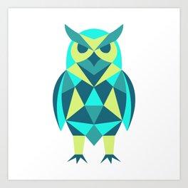 Colourful Geometric Owl Art Print
