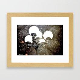 Union Square NYC rainy night. Framed Art Print