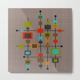 Mid-Century Modern Squares Pattern Metal Print