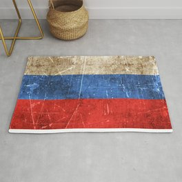 Vintage Aged and Scratched Russian Flag Rug