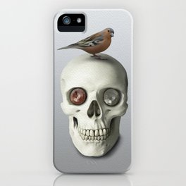 Skull & bird, watercolor iPhone Case