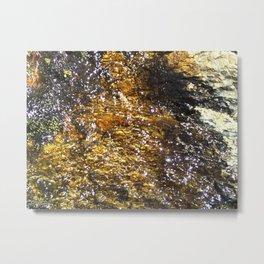 Water On Dark Stone Metal Print