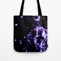 cosmic Tote Bags featuring COSMIC Electricity Purple by 2sweet4words Designs