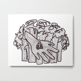 LITTLE FOREST MAN IN A HAND Metal Print