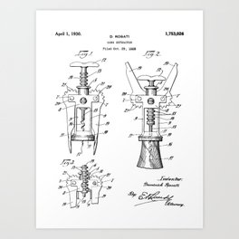Cork Screw Patent - Wine Art - Black And White Art Print